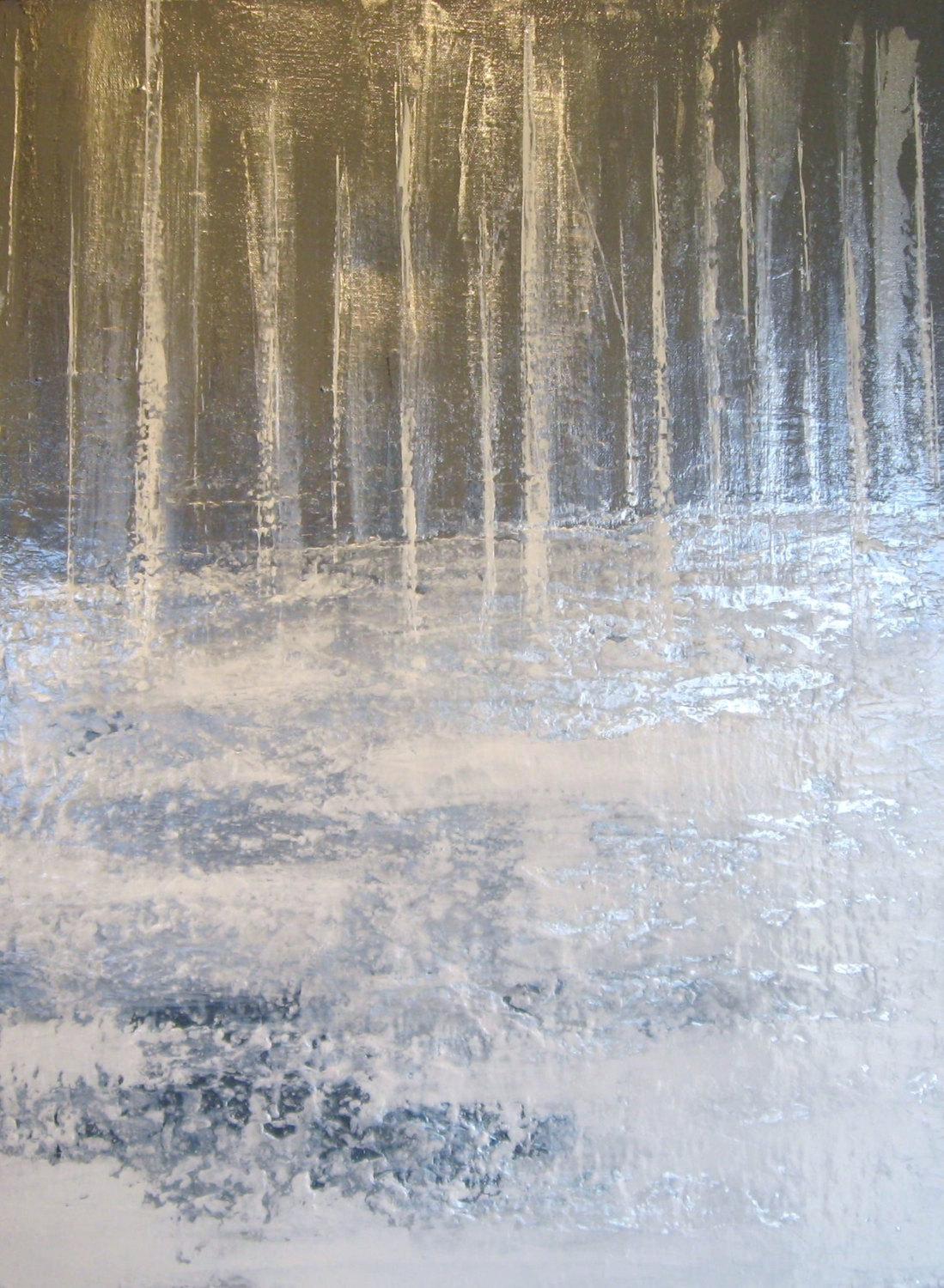 Large Expressionist Textured Original Painting Stainless Steel Silver Trees in Snow - JoeysArtOriginals