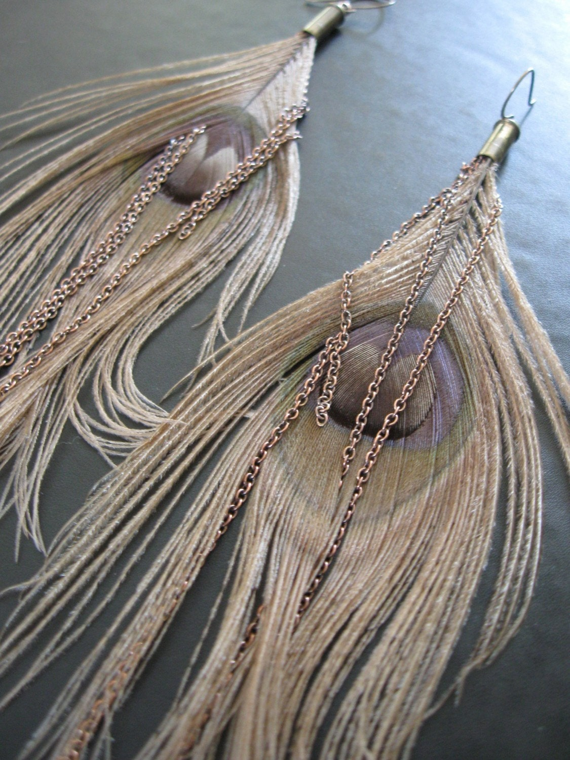 Somnambulism - Bleached Peacock Feather Brass Chain Recycled Bullet Casing Earrings