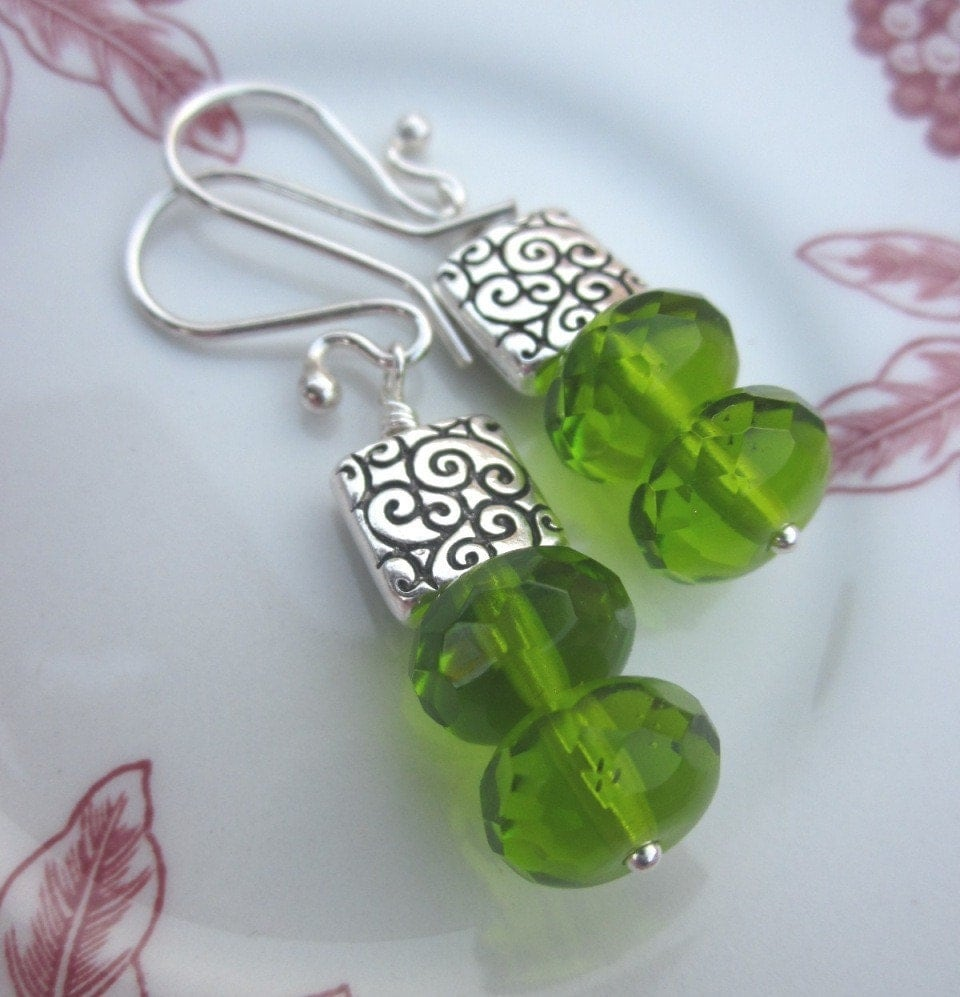 Handmade Green Earrings with Olivine Rondelles