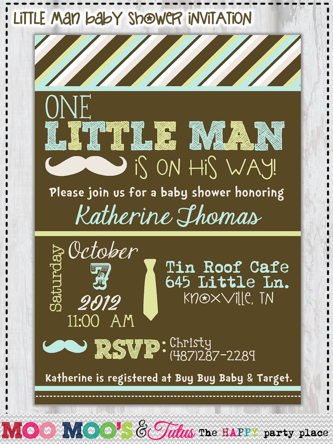 items similar to printable little man baby shower invitation by moo