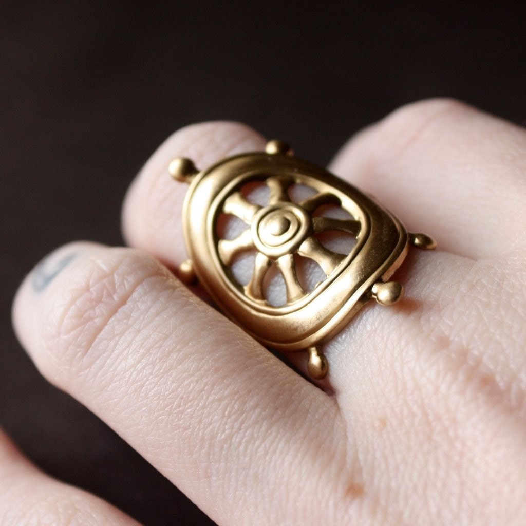 Nautical Ship Steering Wheel Statement Ring in Raw Brass, Custom Size