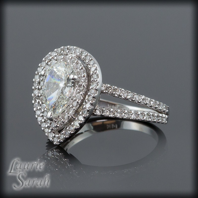 pear shaped diamond engagement ring with by lauriesarahdesigns