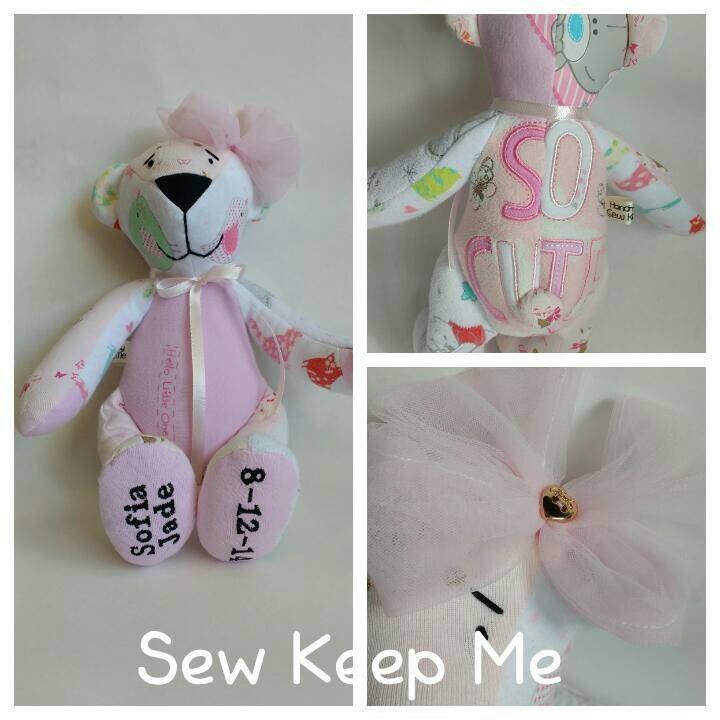 Memory bear baby clothing keepsake new baby new mum keepsake nursery decoration 11 tall baby grow bear grandparent gift baby shower