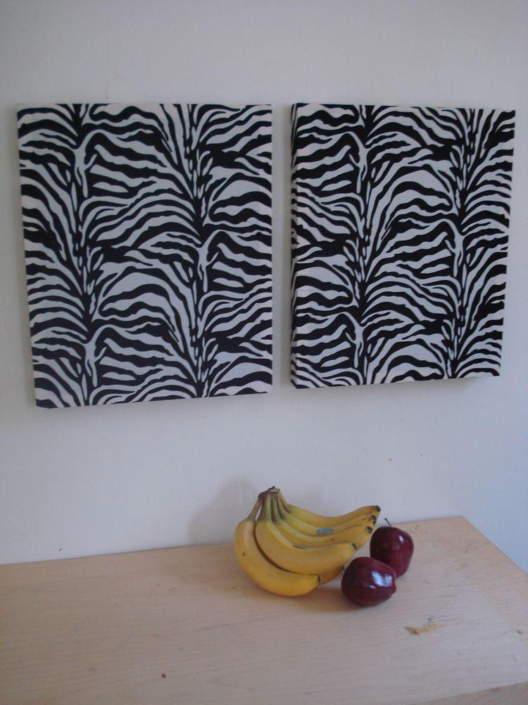 14x17 Zebra Print Fabric Wall Hangings Wall Art Decor