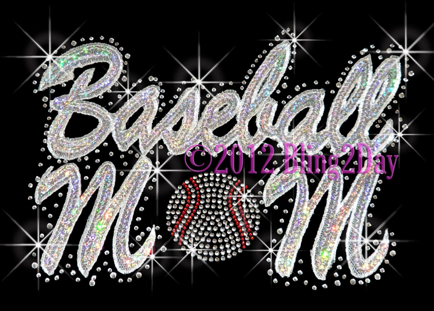 Baseball Mom Silver Hologram Sequins Embroidered Patch - Iron on Rhinestone Transfer Hot Fix Bling Sports - DIY - RhinestonePalace