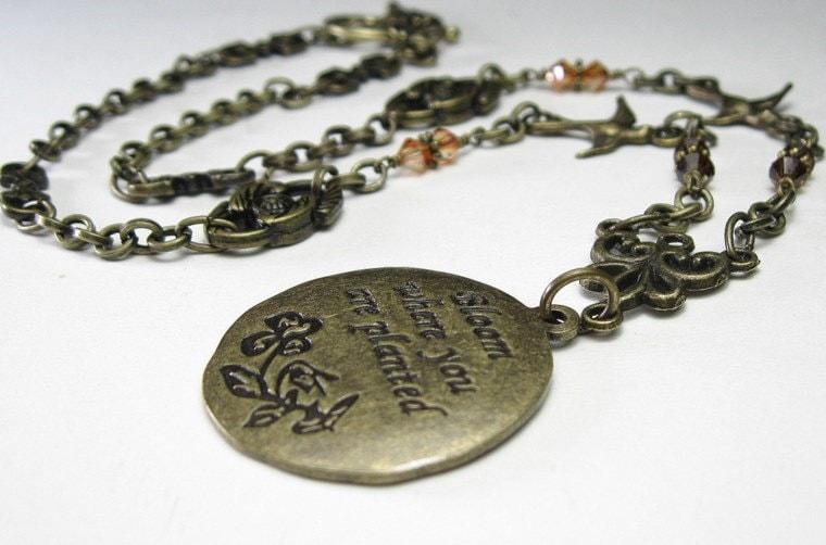 Vintage Style Swarovski and Brass Pendant Necklace