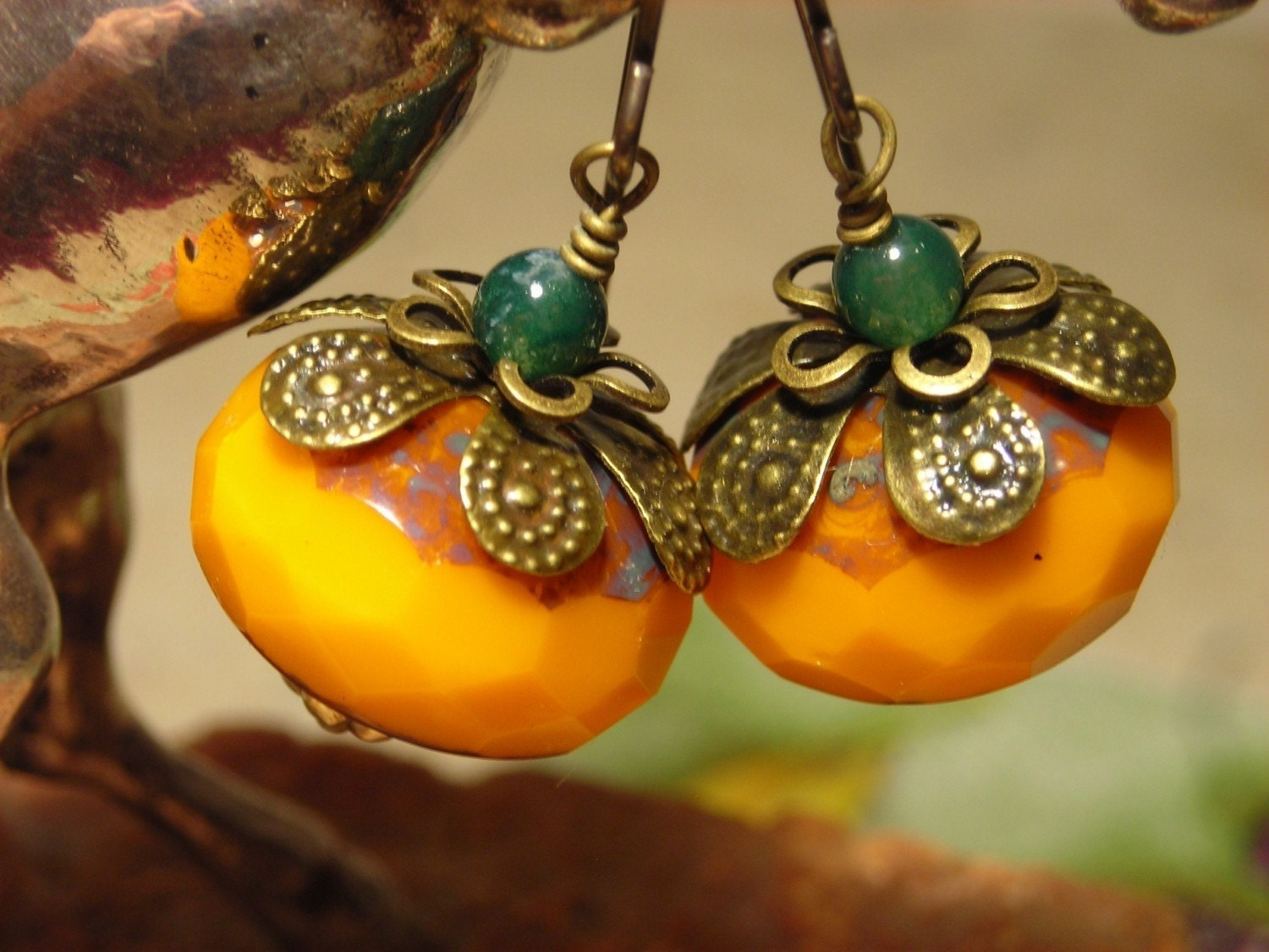 Big Pumpkins, fire polished Czech glass rondelles and natural moss agate, antiqued brass, great berry fruit earrings
