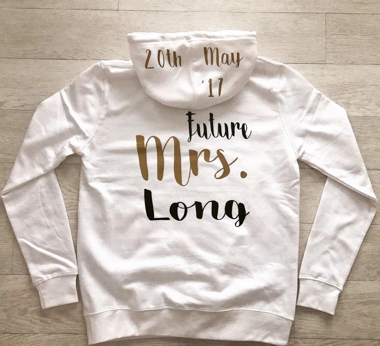 Hen Party Hoodie Future Mrs Hoodie personalised bride bridal hoodie pull over hoodie wedding hen party honeymoon miss to mrs