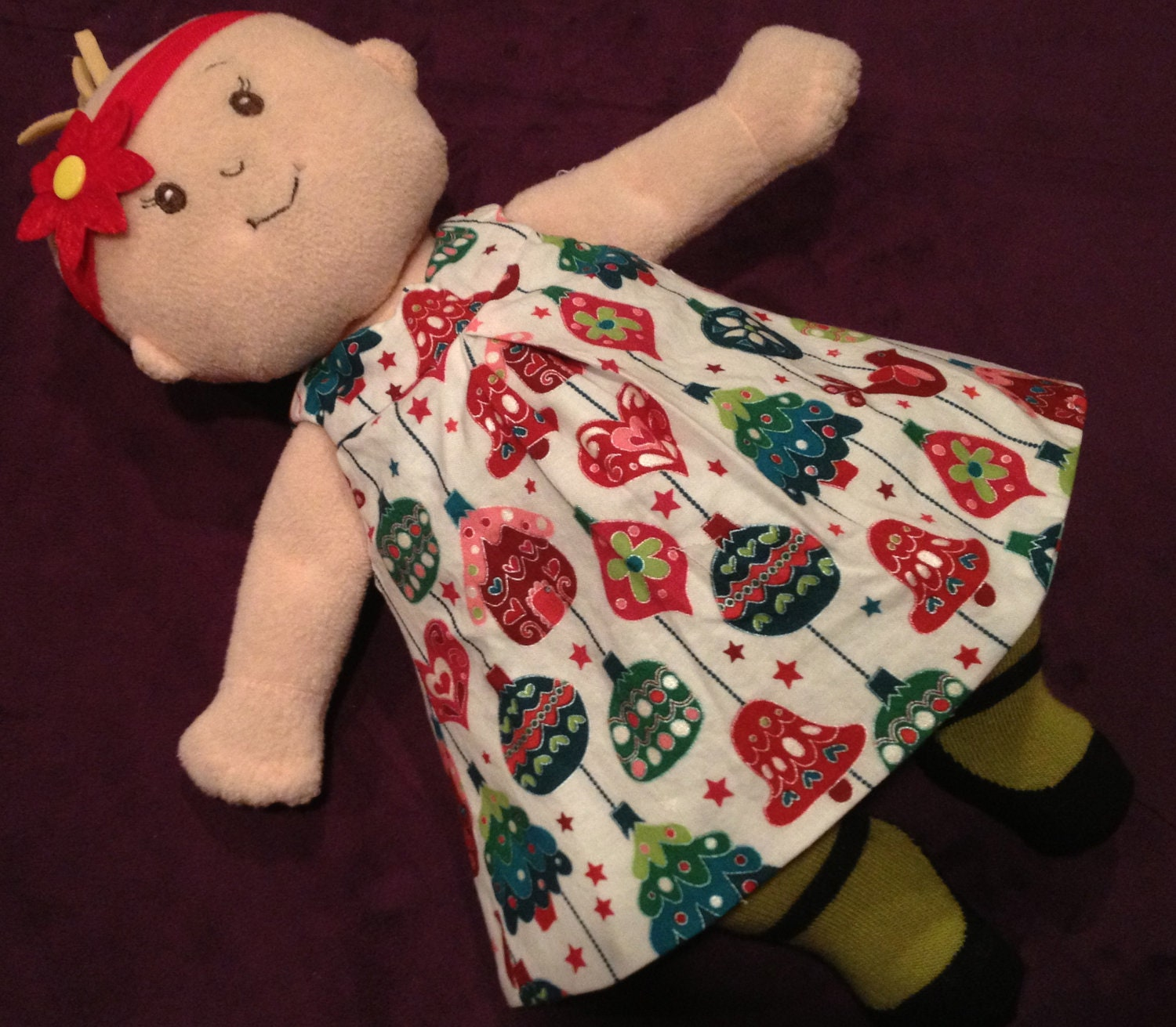 Little Reversible Dress in Evergreen Ornaments and Green Christmas Dot for Baby Stella, Waldorf and 13, 14, 15, 16 Inch Dolls, Doll,Clothes
