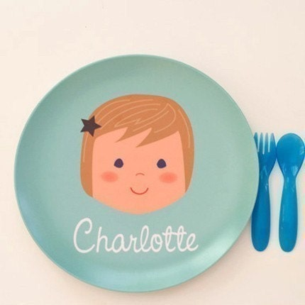 Olliegraphic Personalized Melamine Plate - Boy or Girl