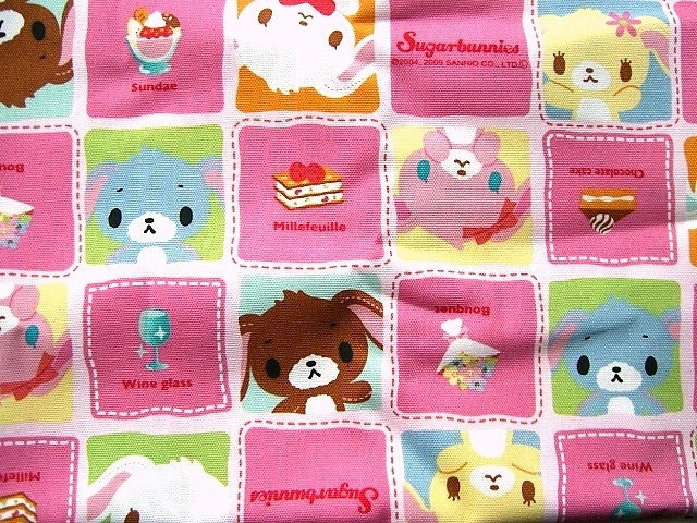 Cute Japanese Cotton Fabric-Sugarbunnies-San-X Bunny Character 1 Yard (F374)