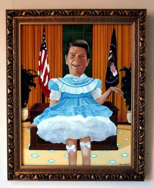 President Rhonda Ronald Reagan 20 x 24 Original Oil Painting by Dark Vomit