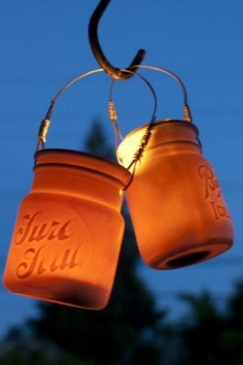 HOLIDAY SALE, Translucent Porcelain Mason Jar Lantern Set