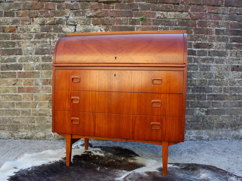 Scandinavian Mid Century Teak Bureau Desk Sideboard Cabinet Retro Vintage Danish 50s 60s 70s