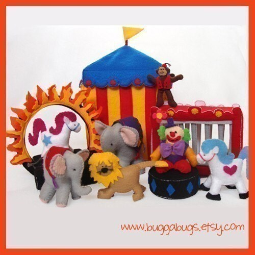 NEW - CIRCUS - PDF Doll Pattern (Tent, Clown, Elephants, Monkey, Show Horses, Lion, Cage, Ring of Fire, Stages)