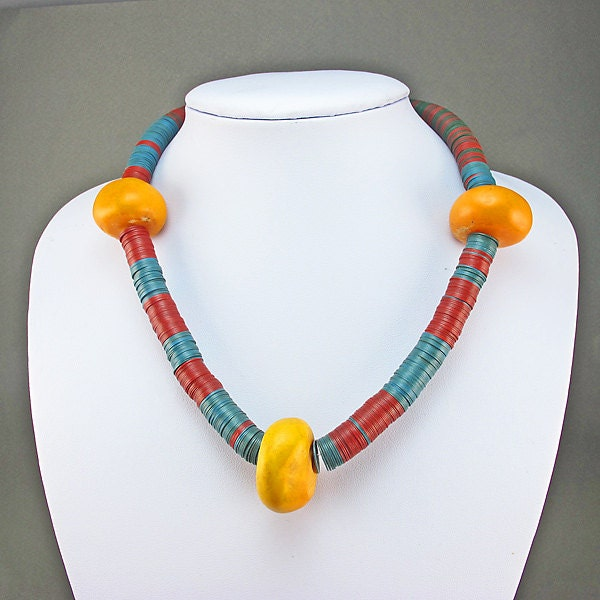 Vintage African Beads Necklace Faux Amber Beads And Heishi Beads Vintage African Jewelry