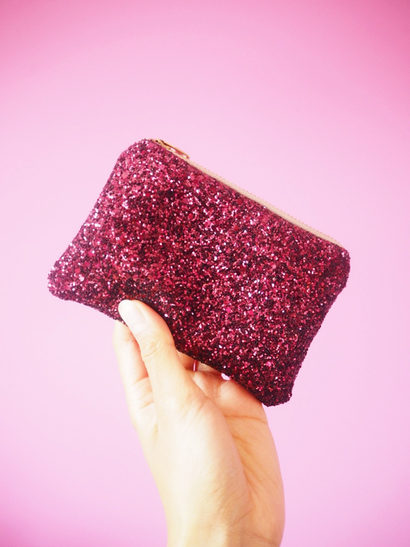 Plum Glitter Coin Purse, Sparkly Pink Coin Pouch, Dark Pink Glitter Purse, Plum Glitter Card Holder, Sparkly Plum Coin Purse, Pink Pouch,