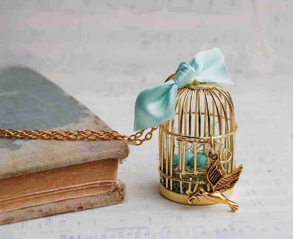 NEST and Eggs - Birdcage Necklace