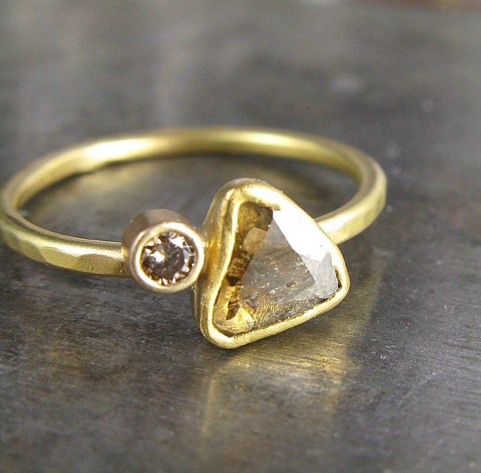One of a Kind - Diamond Slice and Recycled Gold Ring - .33 Carats