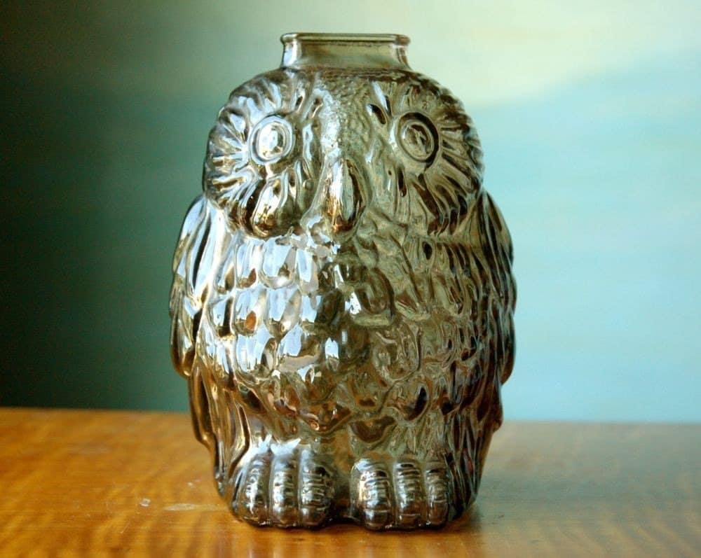 Items similar to barack owlbama wise old owl bank on etsy - Wise old owl glass bank ...
