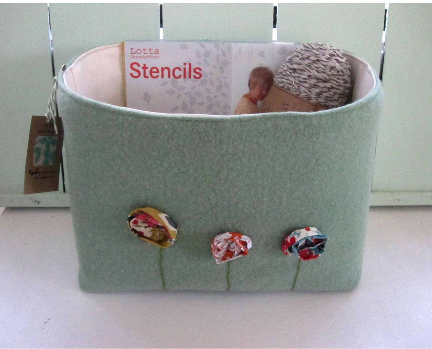 Bohemian Poppies Fabric Bin In Seaglass  Upcycled Wool Fabric  With Flowers Grande