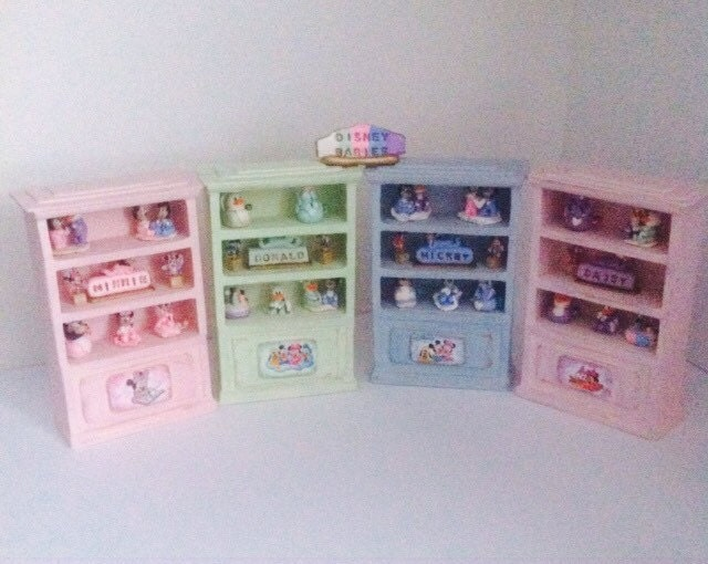 Dolls House Handmade Dressed Bookcase with Handmade Disney Characters