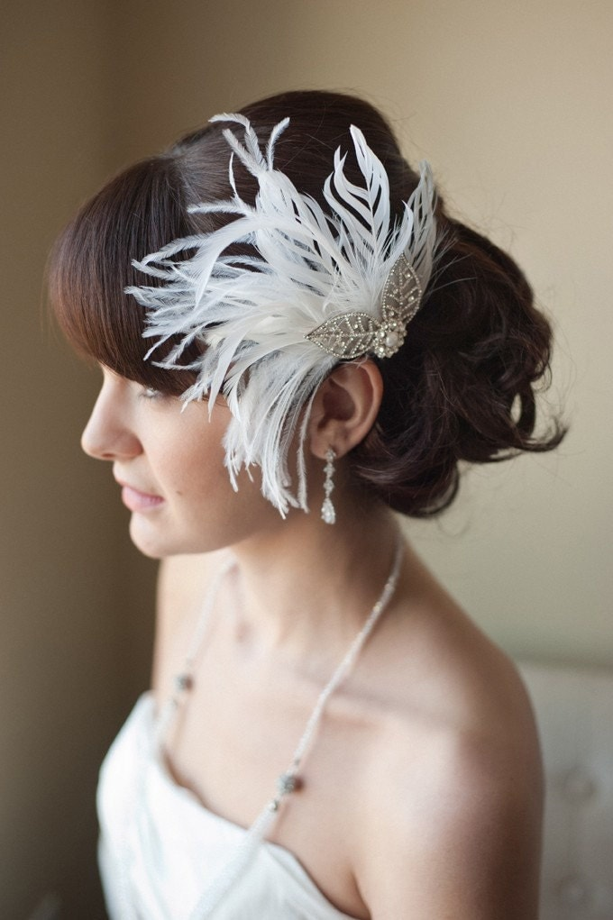 Bridal Feather Fascinator, Hairclip, Head Piece - LACEY