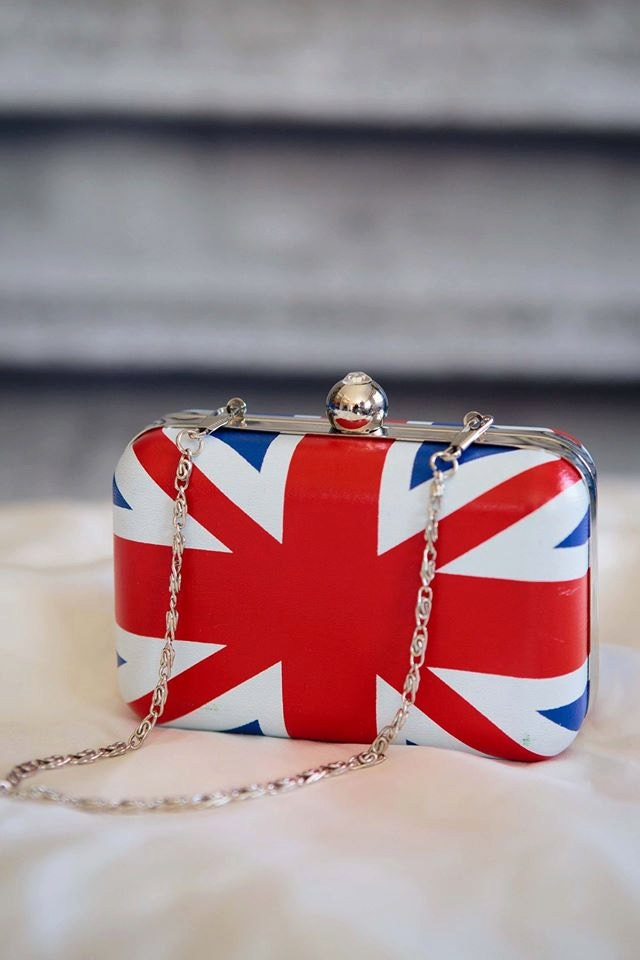 Hardcase Union Jack clutch bag 1950s rockabilly pinup blue white red clutch bag