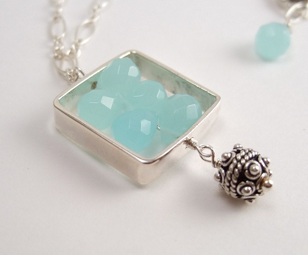 Aqua Glass Teardrops in a Sterling Silver Square