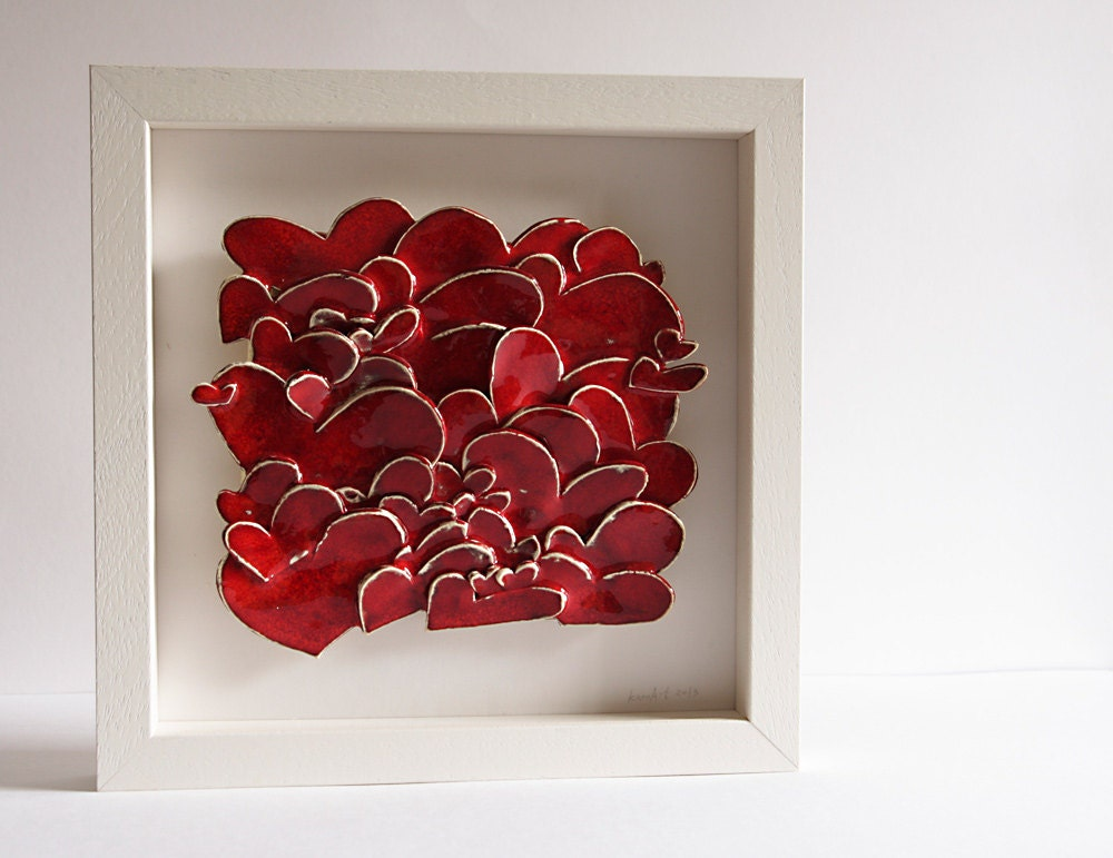 Red Love Wall Decor : Ceramic wall sculpture red love hearts art by