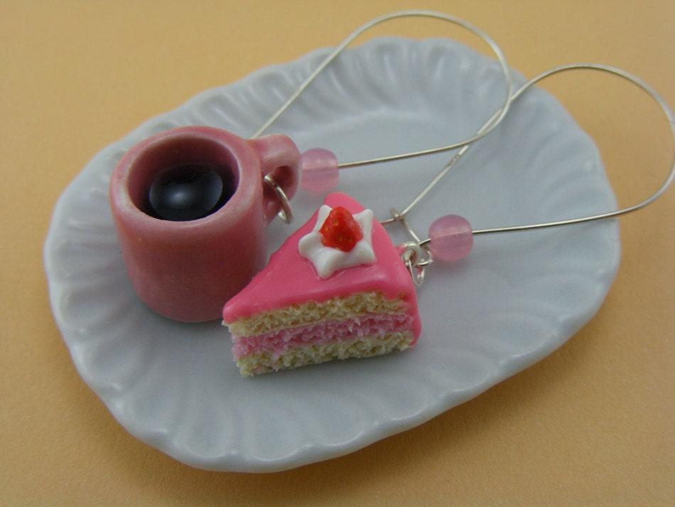 Кофе и торт Серьги