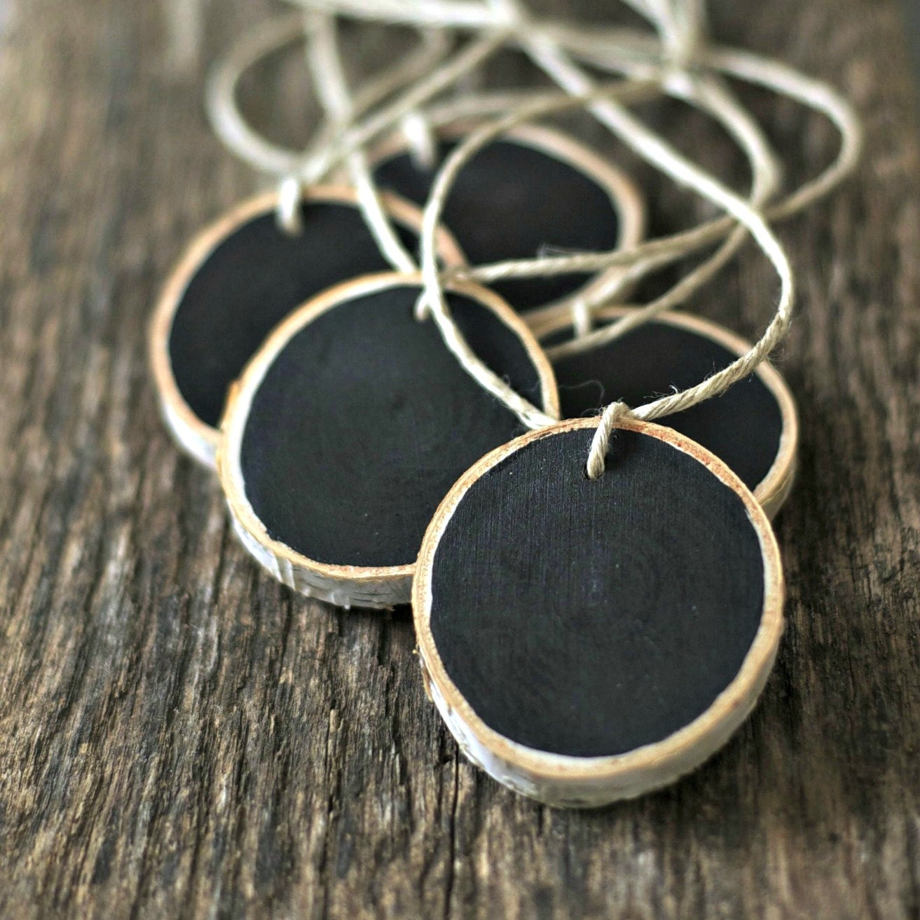 Chalkboard Tags - Tree Branch Wood Slice - Set of 5 - Rustic Wedding - Eco Friendly - Storage,Organization, Mason Jar Label, , Gift Tag