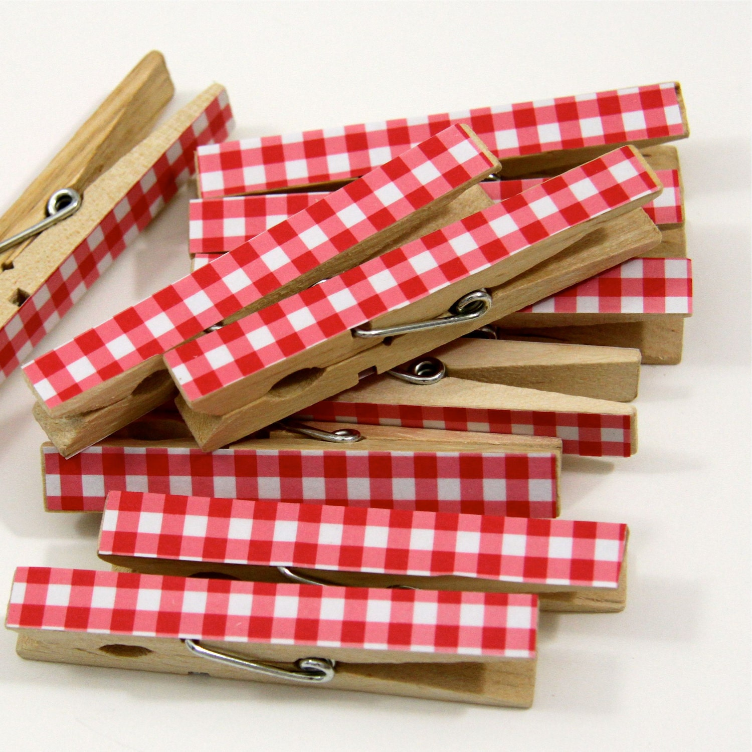 Clothespins.  Set of Ten.  Red Gingham - ThePaperedCrown