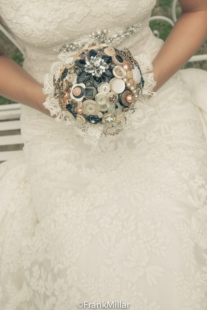 Vintage Jewellery Wedding Bouquets : Quot it s all peachy vintage button brooch jewellery wedding