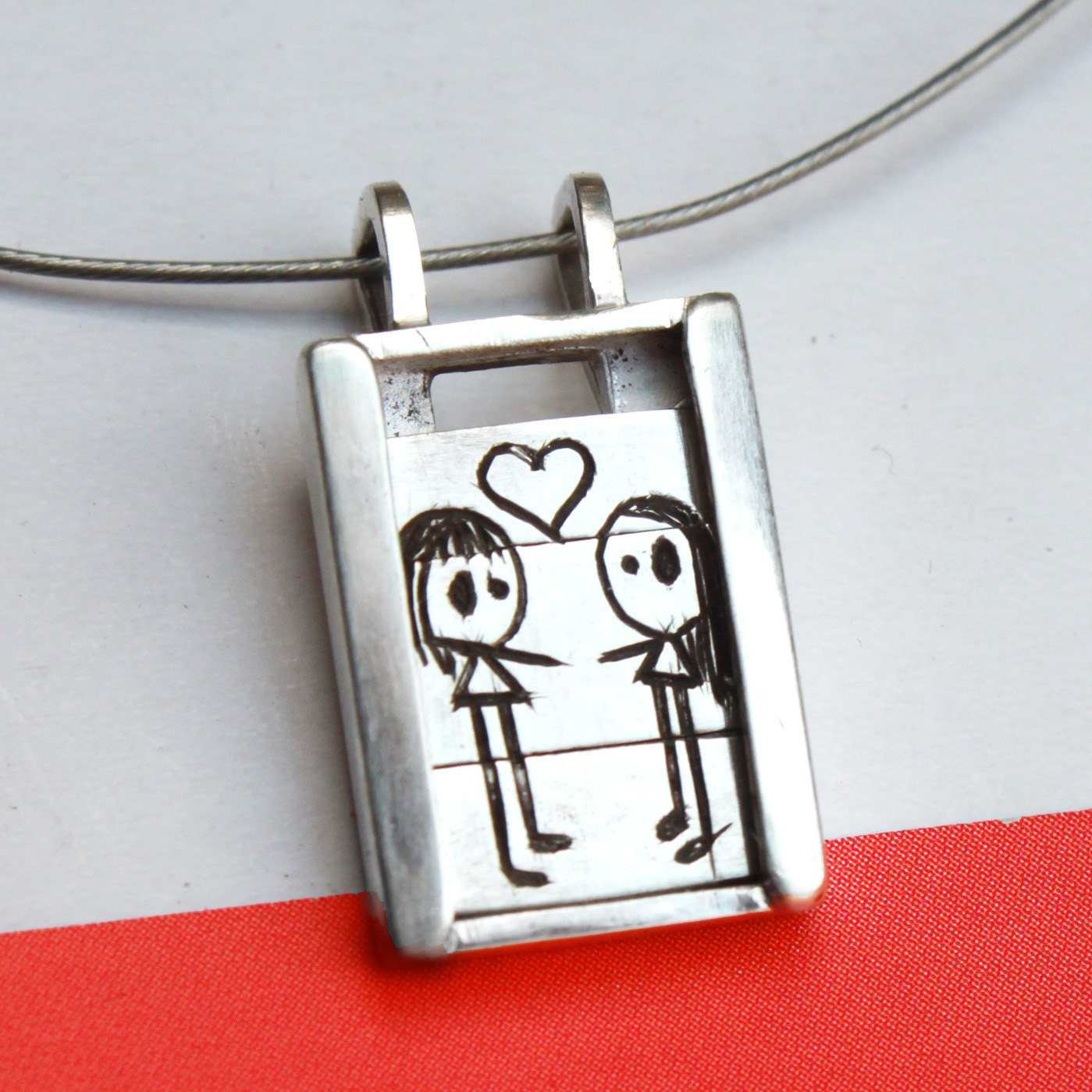 Girls in Love - Slider Pendant- sterling silver