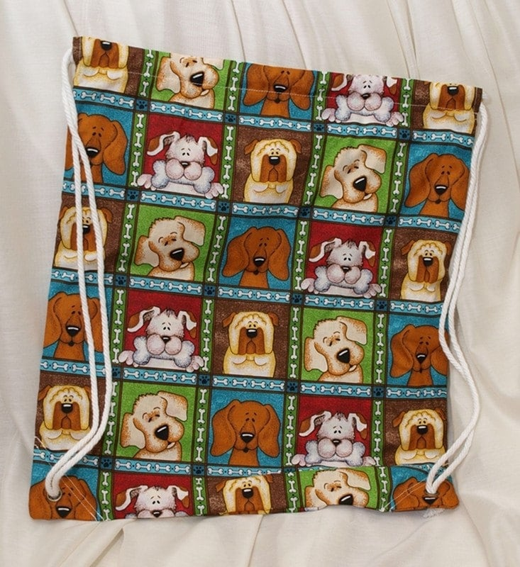 Boys' Puppy Drawstring Backpack by heathermariedesigns on Etsy from etsy.com