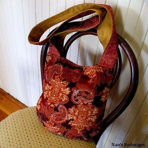 Red Corduroy Appliqued Sasha Sling Bag