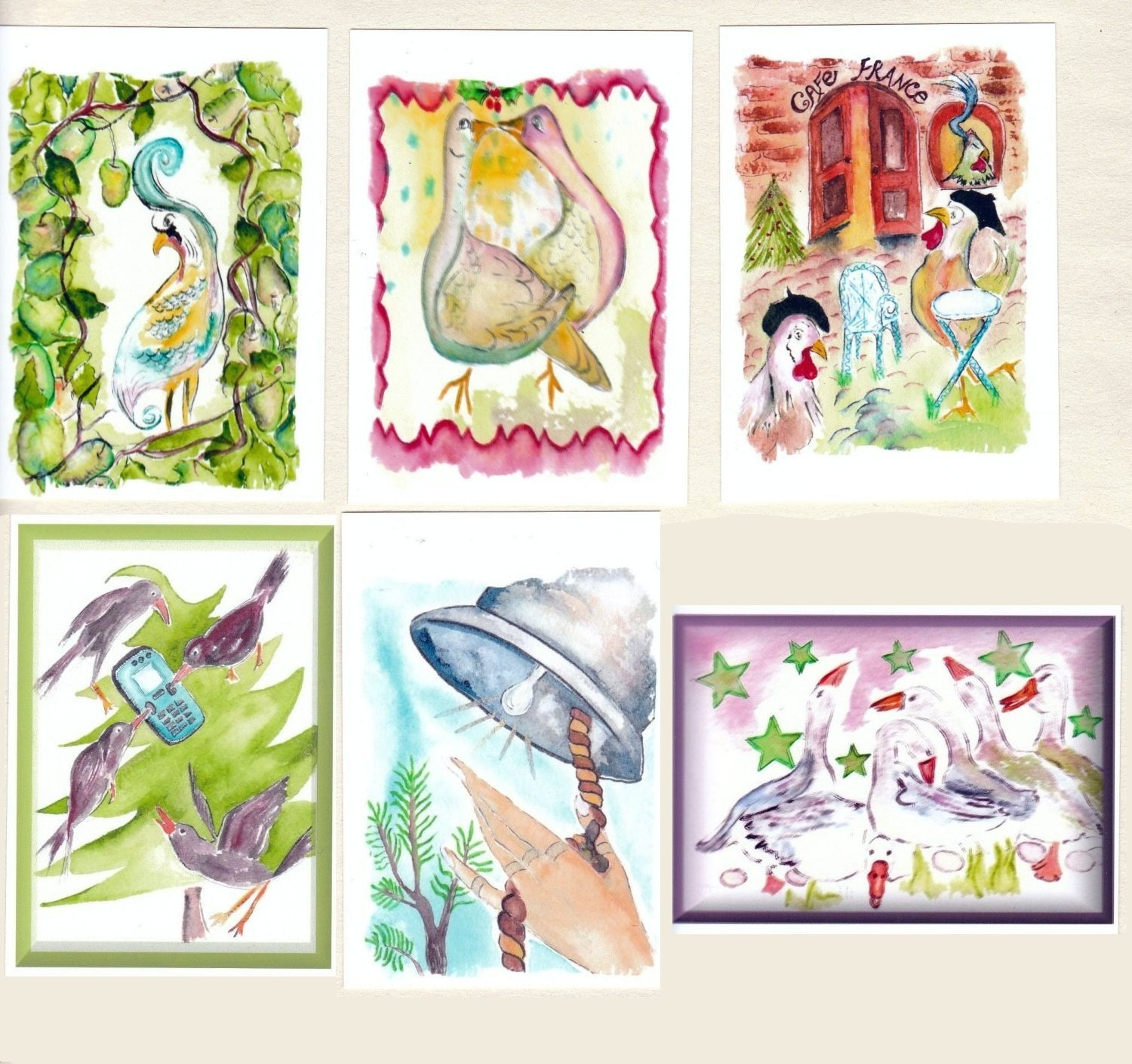 ACEO 12 Days of Christmas prints baseball card size