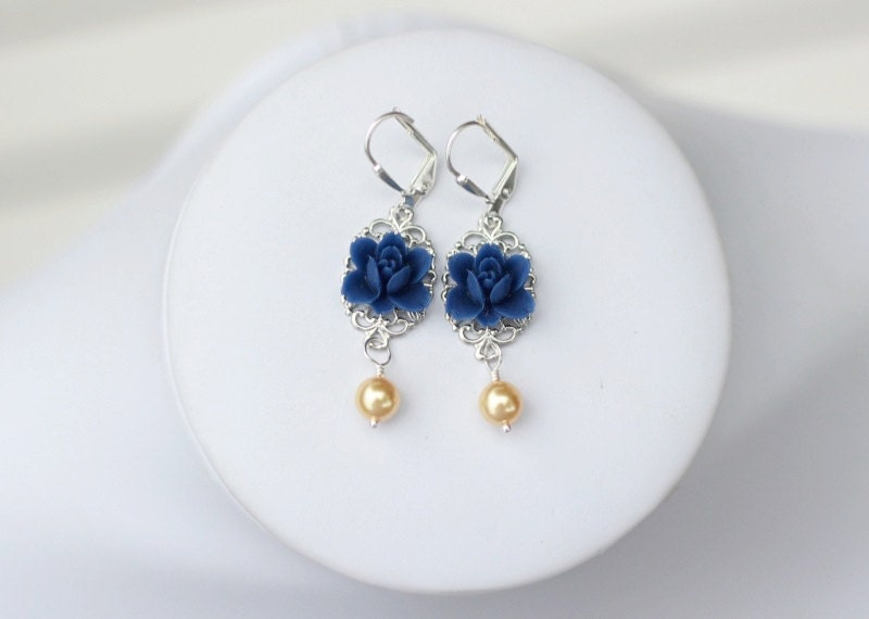 Antique Style Navy Blue Lotus Flower and Bright Gold Swarovski Pearl Dangle Earrings. Vintage Style. Bridesmaid Earrings.