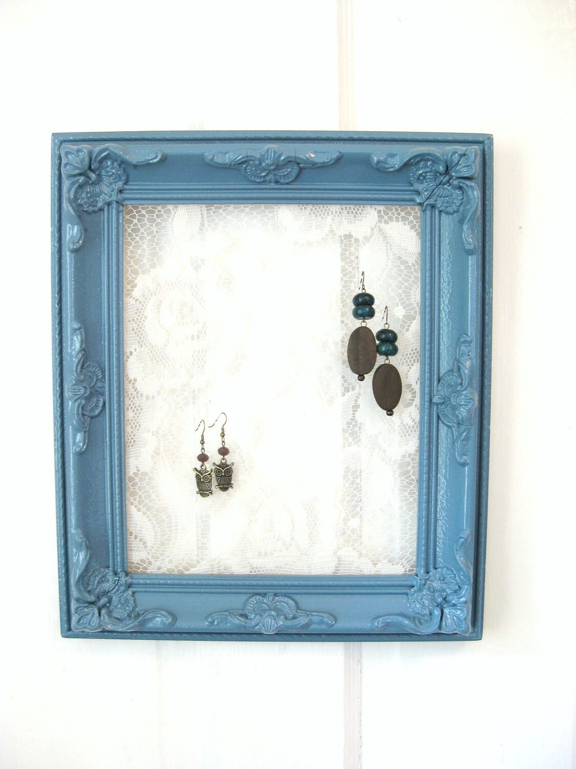 Upcycled Jewelry Frame, Painted Frame, Lace