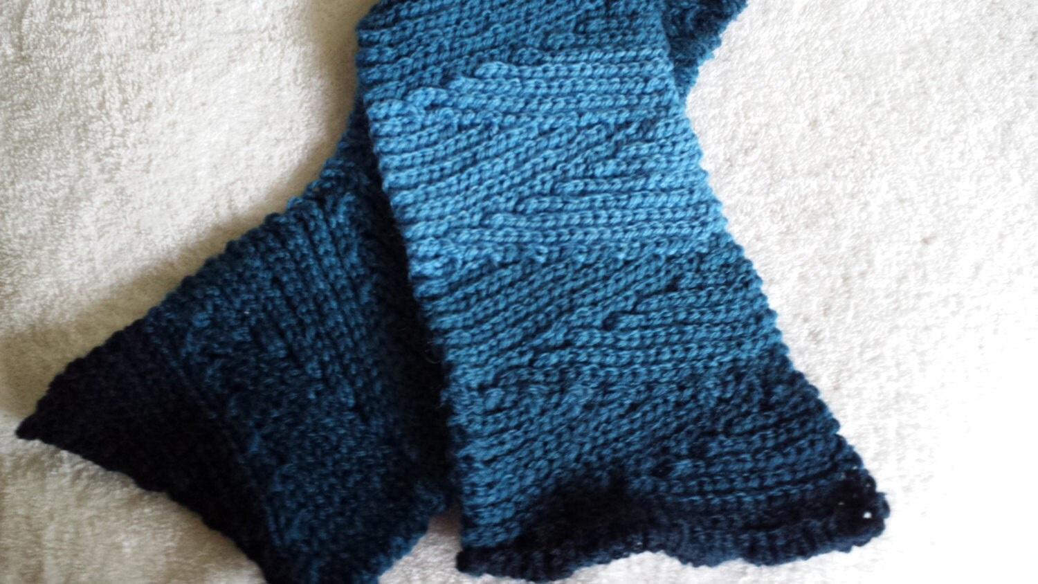 Crocheted Slip Slope Scarf shades of blue - softtotouch