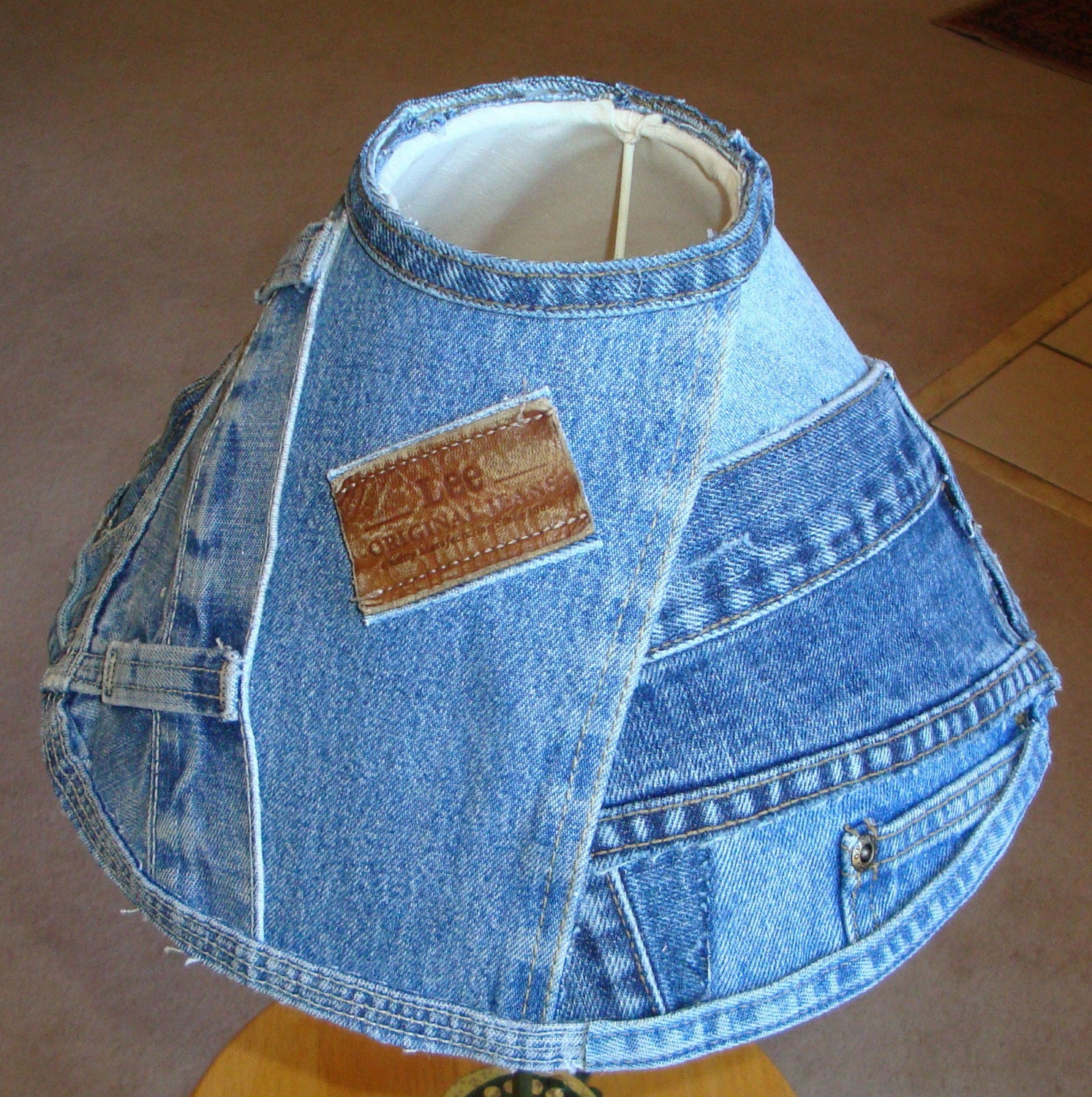 Etsy :: AKASP :: Recycled WAISTBANDS and BELTLOOPS Denim Lamp Shade from etsy.com