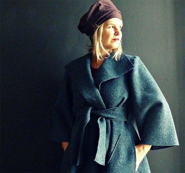 Teal/Black Wool Wrap Coat - 13threads