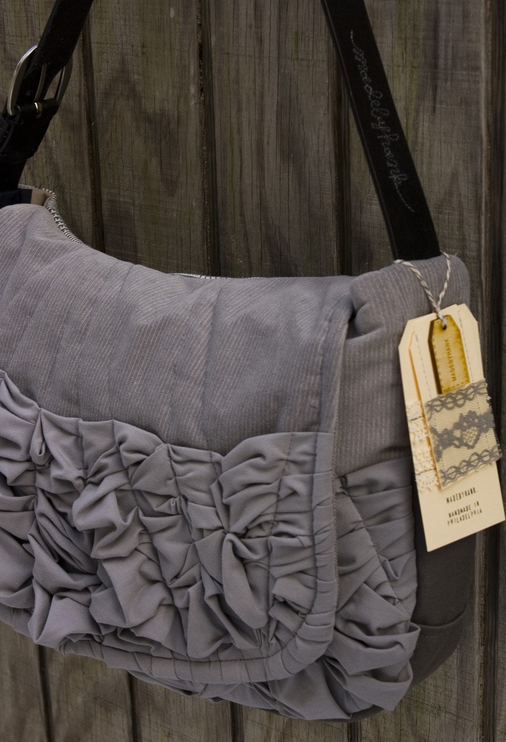 OOAK-- a large tough ruffles shoulder bag in two shades of grey (black leather adjustable strap)