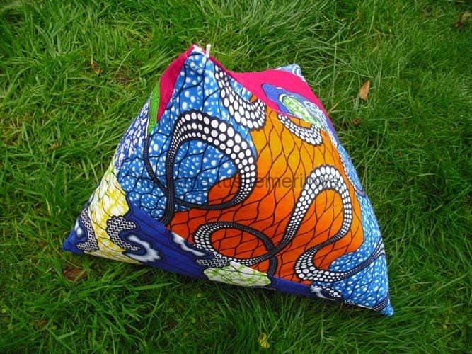 Three colour pyramid cushion in African inspired fabric