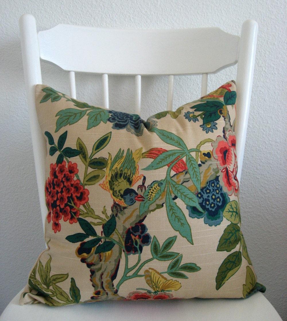 ONE new 18x18 botanical, bird, butterfly,  tan, blue, green, coral pillow cover, throw pillow, toss pillow, decorative pillow