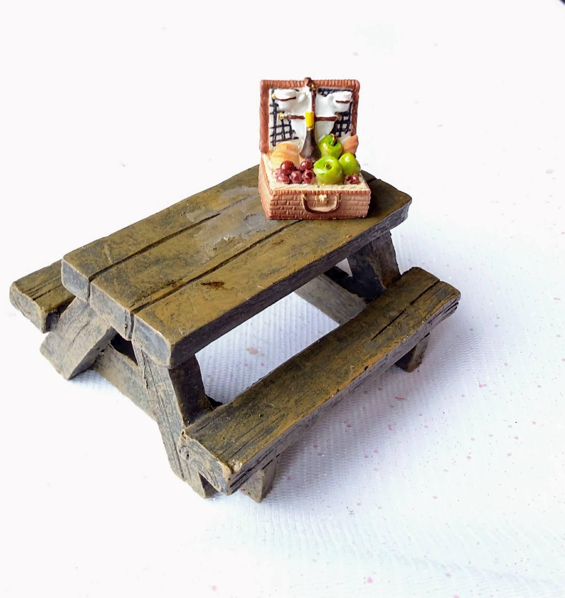 Fairy Garden Table  Fairy Garden Furniture  Miniature Garden Table  Fairy Garden Accessories  Picnic Table