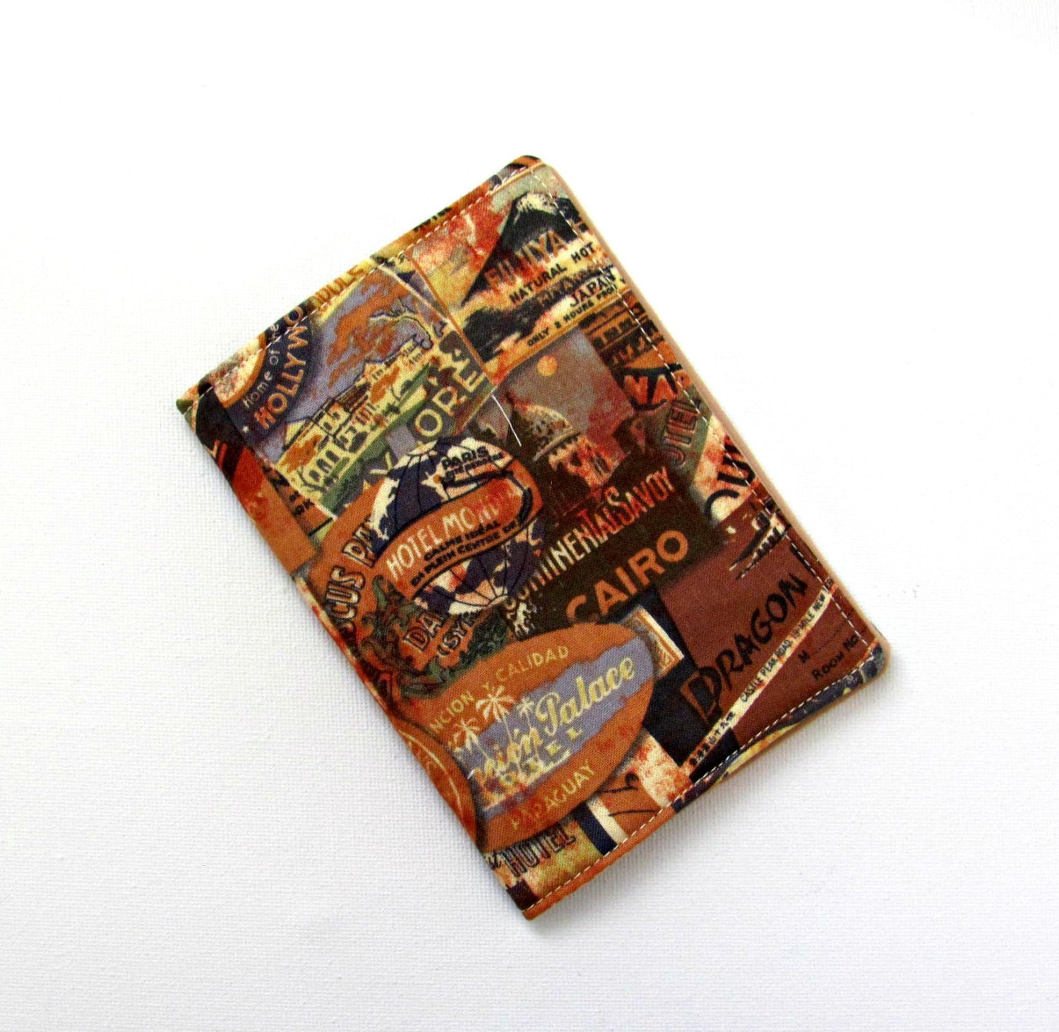 Fabric passport cover  Travel documents wallet  Passport protector  Holiday organizer  Newlyweds present  Bon voyage gift for him