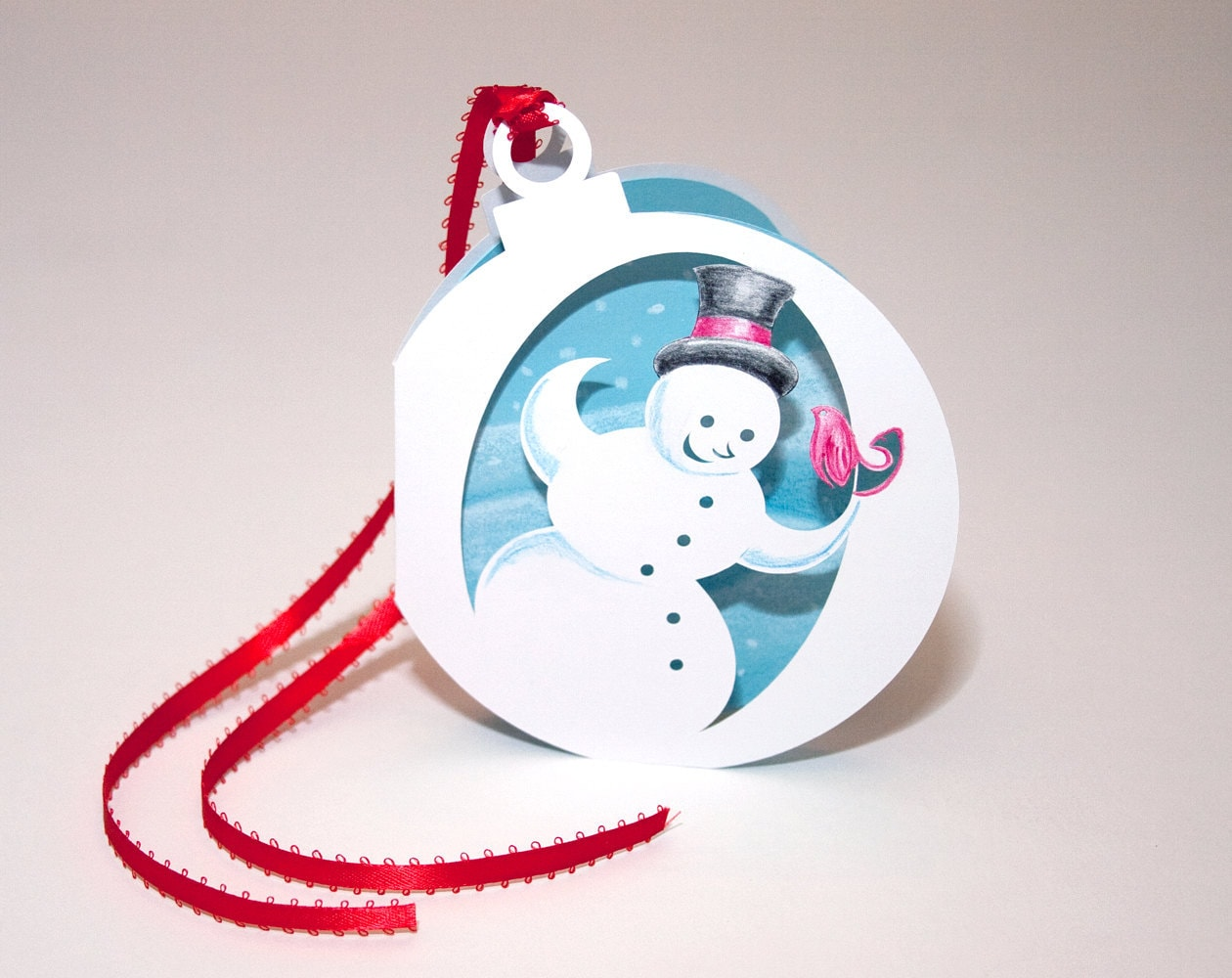 Ornament Card - Cut Paper Snowman with Bird - Hand Colored