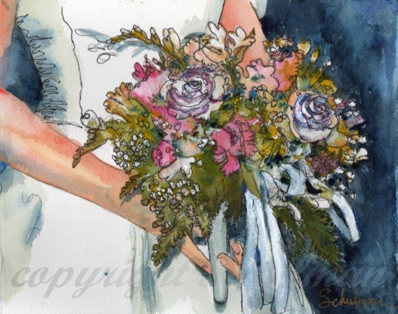"Wedding Keepsake, Order an original 11x14"" matted watercolor painting of bridal bouquet"